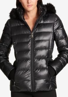Dkny Faux-Fur-Trimmed Down Puffer Coat