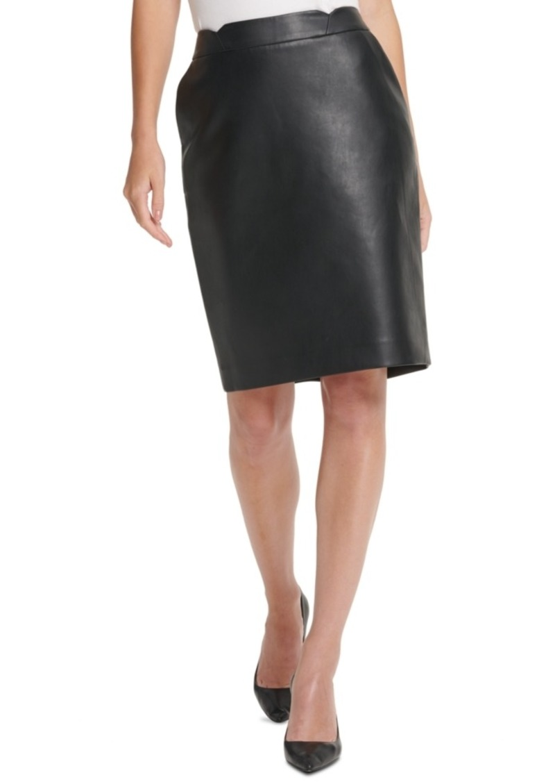 Dkny Faux-Leather Pencil Skirt