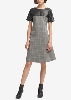 Dkny Faux-Leather Plaid A-Line Dress, Created for Macy's
