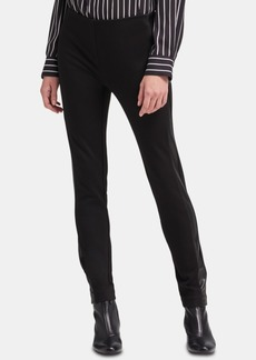 Dkny Faux-Leather-Striped Skinny Pants