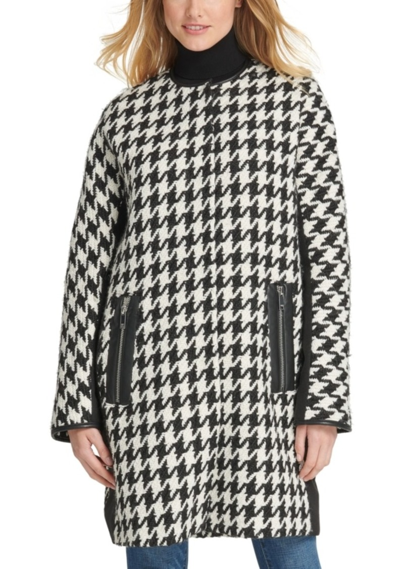 Dkny Faux-Leather-Trim Houndstooth Coat
