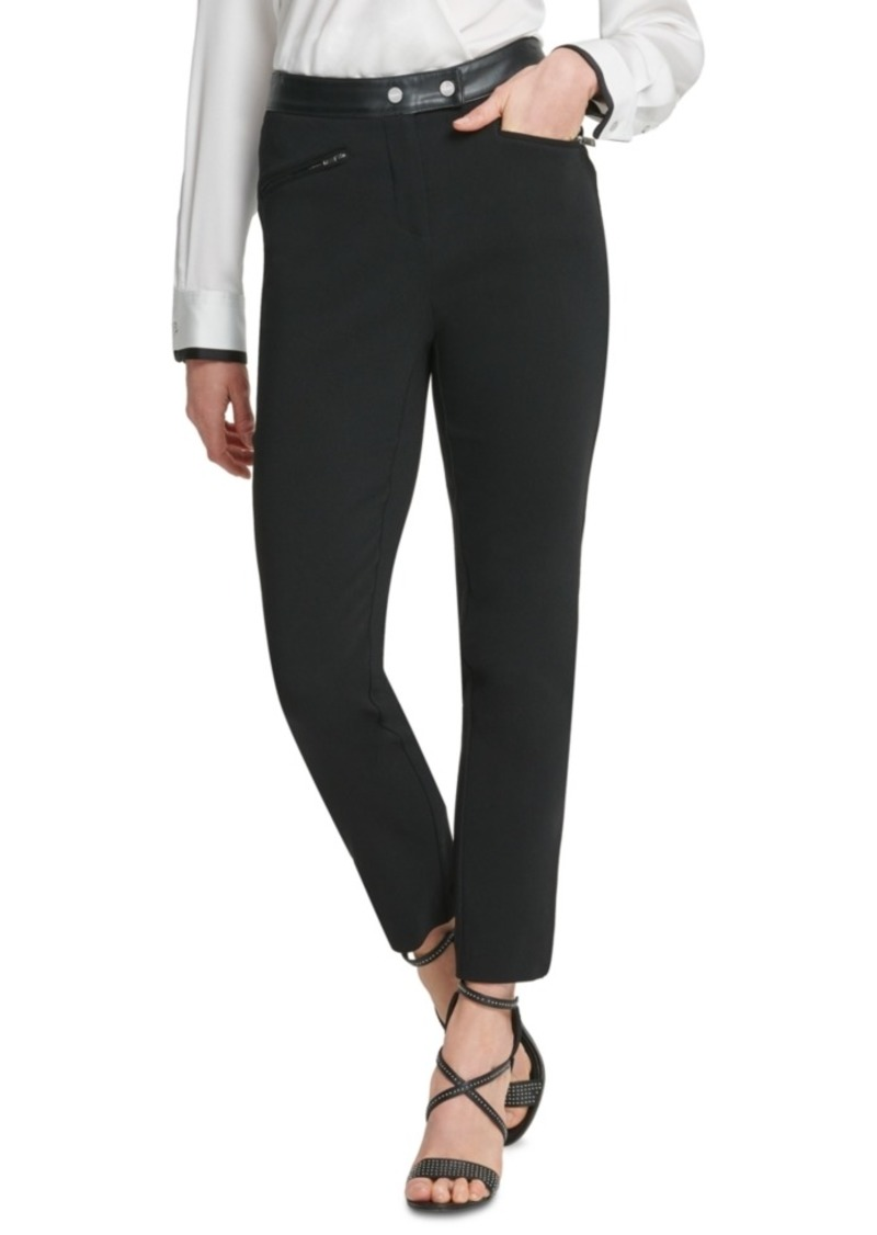 Dkny Faux-Leather-Trim Straight-Leg Pants