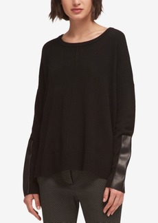 Dkny Faux-Leather-Trim Sweater, Created for Macy's