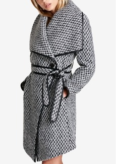Dkny Faux-Leather-Trim Textured Wrap Coat