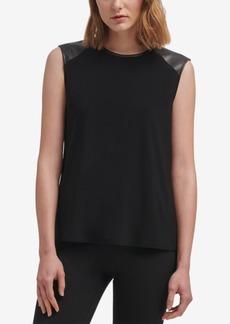 Dkny Faux-Leather-Trim Top, Created for Macy's