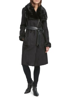 DKNY Faux Shearling Belted Coat