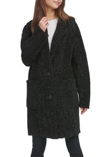 DKNY Faux Shearling Button Coat