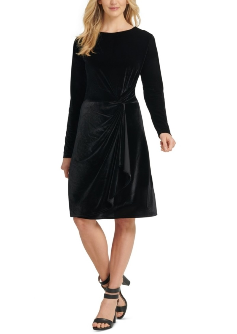Dkny Faux-Wrap Velvet Dress