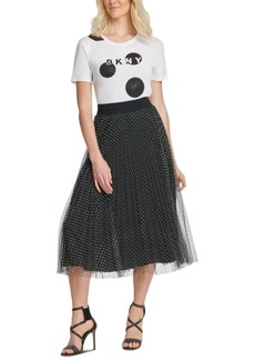 Dkny Flocked-Mesh Midi Skirt