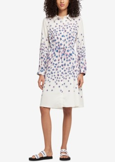 Dkny Floral-Print Drawstring-Waist Shirtdress, Created for Macy's