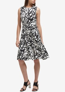Dkny Floral-Print Fit & Flare Dress, Created for Macy's