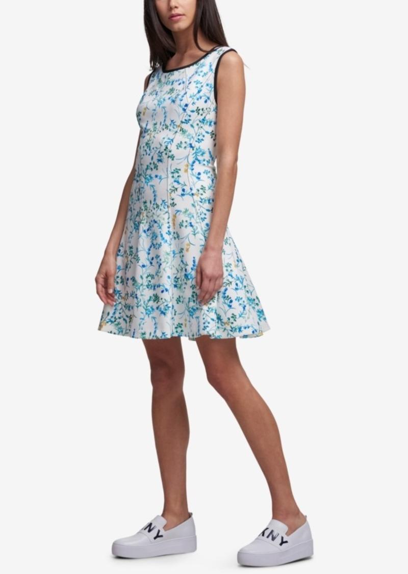 DKNY Women/'s Floral-Print Fit /& Flare Dress