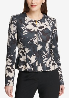 Dkny Floral-Print Peplum Jacket, Created for Macy's