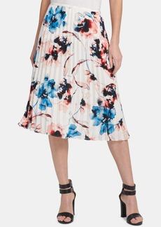 Dkny Floral-Print Pleated Midi Skirt