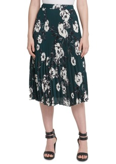 Dkny Floral-Print Pleated Midi Skirt