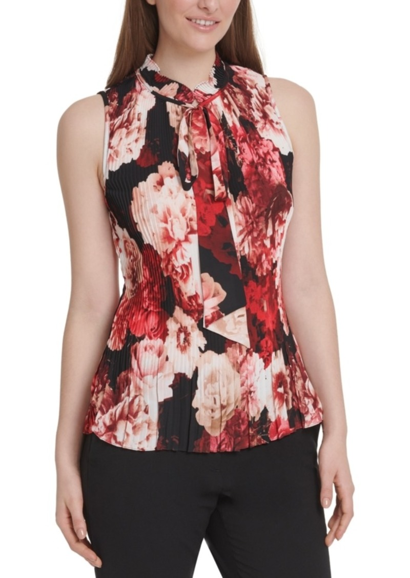 Dkny Floral-Print Pleated Tie-Neck Top