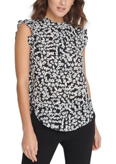 Dkny Floral Print Sleeveless Ruffle Top