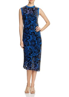 DKNY Floral Velvet Burnout Midi Dress