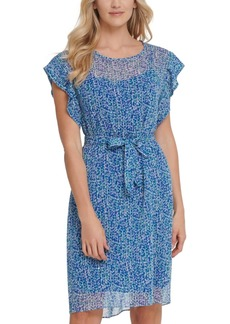 Dkny Flutter-Sleeve Belted Dress