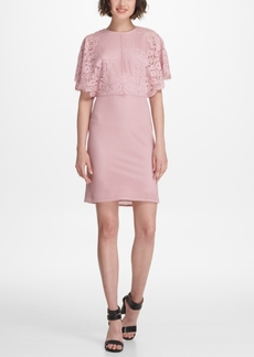 Dkny Flutter-Sleeve Lace Sheath Dress, Created for Macy's