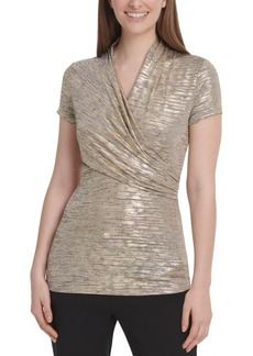 Dkny Foil-Knit Side-Ruched Top