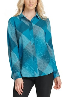 Dkny Foundation Printed Button-Front Blouse