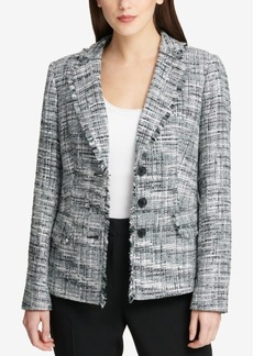 Dkny Fringe-Trim Tweed Blazer, Created for Macy's