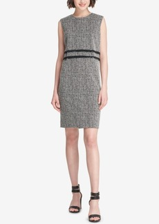 Dkny Fringe-Trim Tweed Sheath Dress, Created for Macy's
