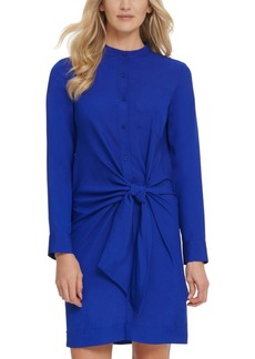 Dkny Front-Tie Button-Up Dress