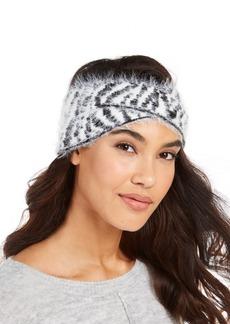 Dkny Fuzzy Animal Print Knit Twist Headband