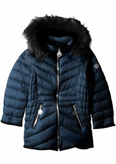 DKNY Girls' Big Bubble Jacket with Faux Fur Trim