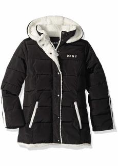 DKNY Girls' Big Bubble Jacket with Zipper Cuffs