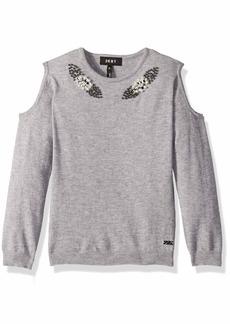 DKNY Girls' Big Cold Shoulder Pearl Sweater