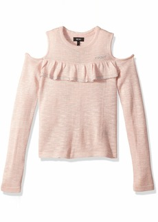 DKNY Girls' Big Cold Shoulder Ruffle Sweater