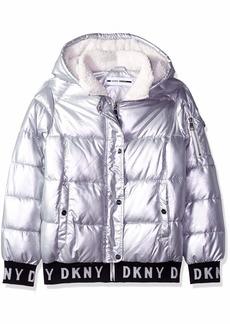 DKNY Girls' Big Fashion Hooded Bomber Jacket