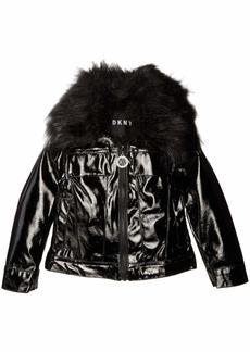 DKNY Girls' Big Fashion Jacket with Faux Fur Collar Shiny Black