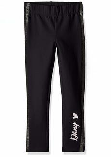 DKNY Girls' Big Fleece Legging with Glitter Taping