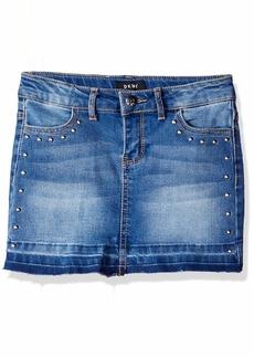 DKNY Girls' Big Hem and Release Denim Skirt indy Blue