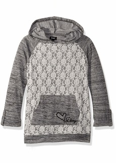 DKNY Girls' Big Hooded Long Sleeve Lace Overlay Top