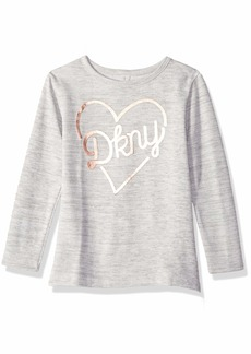 DKNY Girls' Big Little But Fierce Hachi Top Snow with Grey 8/10