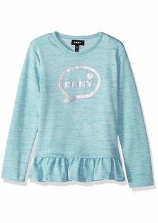 DKNY Girls' Big Long Sleeve Bubbles Message Top  8/10
