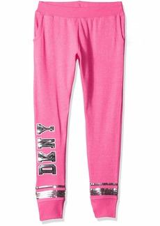 DKNY Girls' Big Sequin Heather Sweatpant Fuchsia Purple
