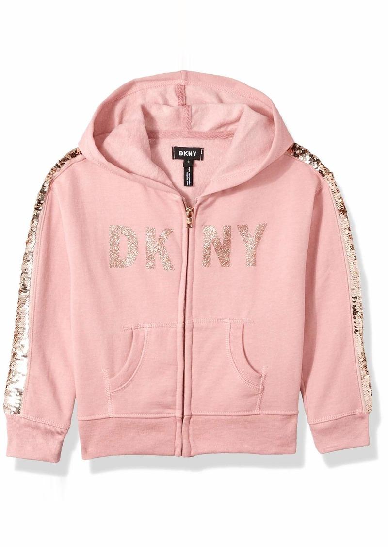 DKNY Girls Sequin Zip Up Hoodie