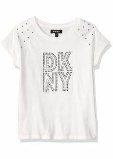 DKNY Girls' Big Short Sleeve Heat Seal Top egret