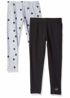 DKNY Girls' Little 2 Pack Printed Heart Legging Set