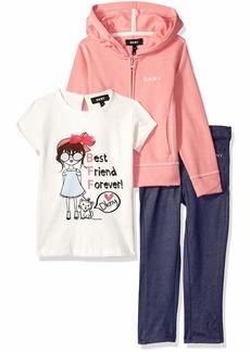 DKNY Girls' Little 3 Piece Best Friends T-Shirt Hoodie and Pant Set  6X