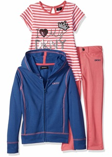 DKNY Girls' Little 3 Piece I'm So Fancy T-Shirt Hoodie and Pant Set