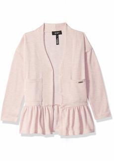 DKNY Girls' Little line Sweater with Ruffle Hem
