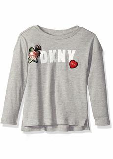 DKNY Girls' Little Long Sleeve Stone Patch Top