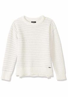 DKNY Girls' Little Metallic Stripe Chenille Sweater Vanilla ice
